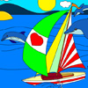 Yacht & Dolphins Coloring